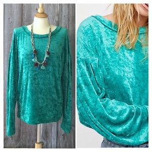 Free People We The Free Green Crushed Velvet Top
